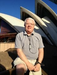 Morris in front of the Sydney Opera House