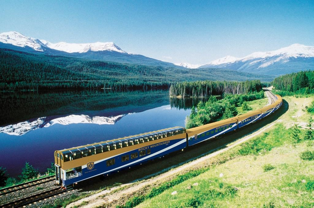 A Rocky Mountaineer train in Banff, Canada