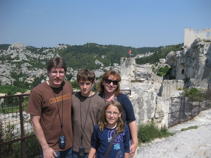 Suzette and her family in Les Baux.