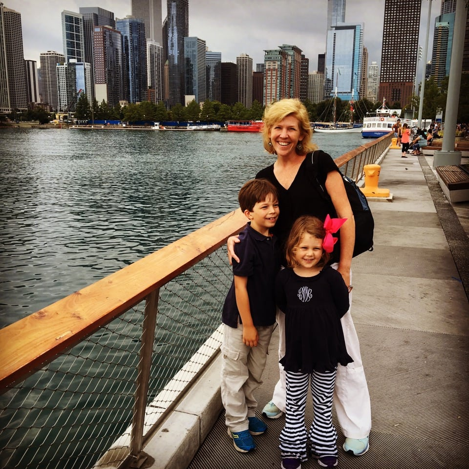 Susan with her children Dryden and Lucy in Chicago. They found the city to be a family playground - riding on trains at the Museum of Science and Industry, petting sting rays at the Shedd Aquarium, riding on Ferris wheel rides at the Navy Pier, eating at great restaurants like Publican and The Little Goat, and cruising the Chicago River on an architecture river cruise.