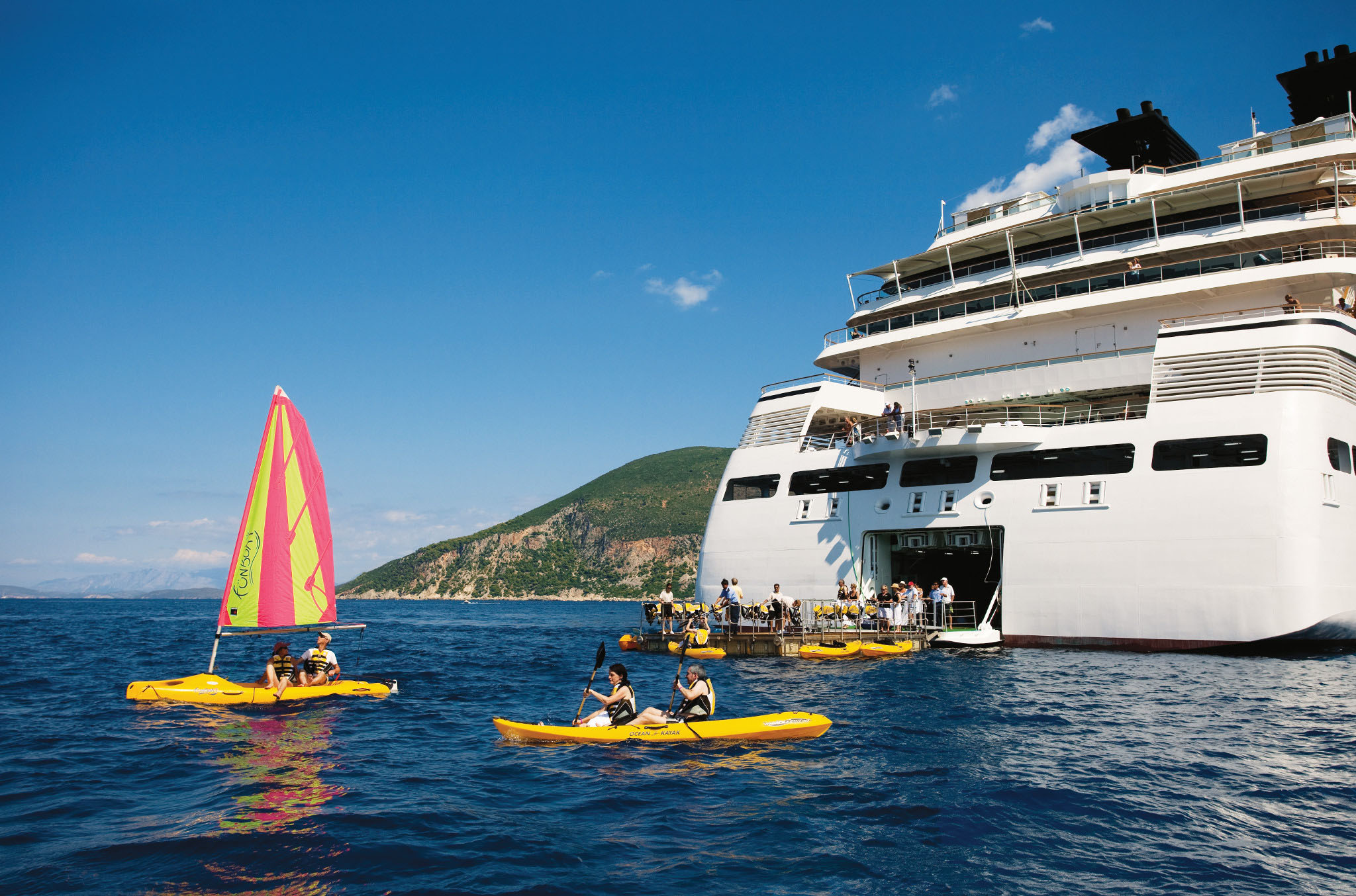 Excursions can launch directly from the innovative fold-out watersports marina.