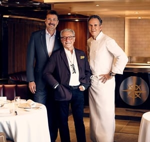 Seabourn President Rick Meadows with Adam Tihany (center) and Thomas Keller (right).